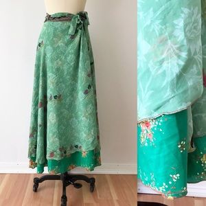 Vintage Pure Silk Wrap Skirt Green Floral G425